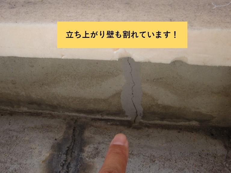 和泉市のベランダの立ち上がり壁も割れています
