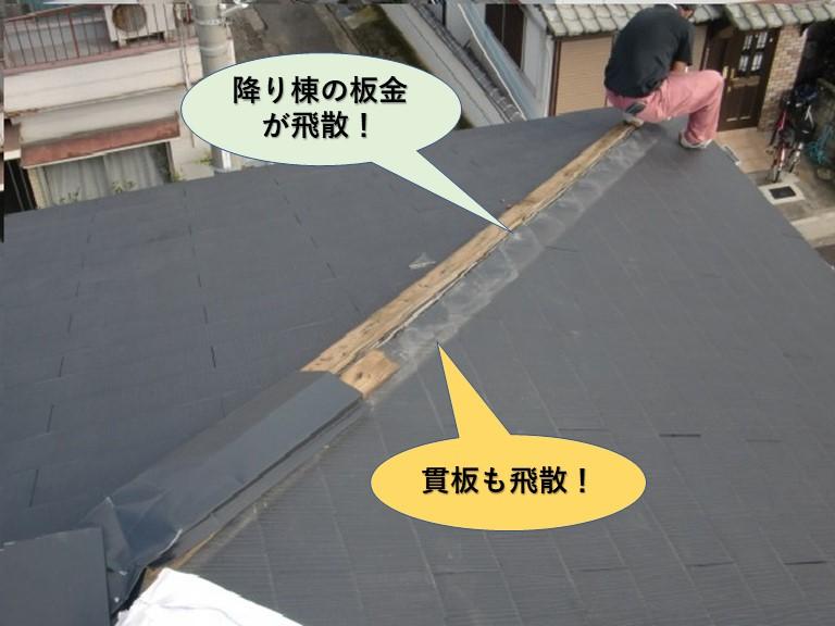 和泉市の棟板金と貫板が飛散