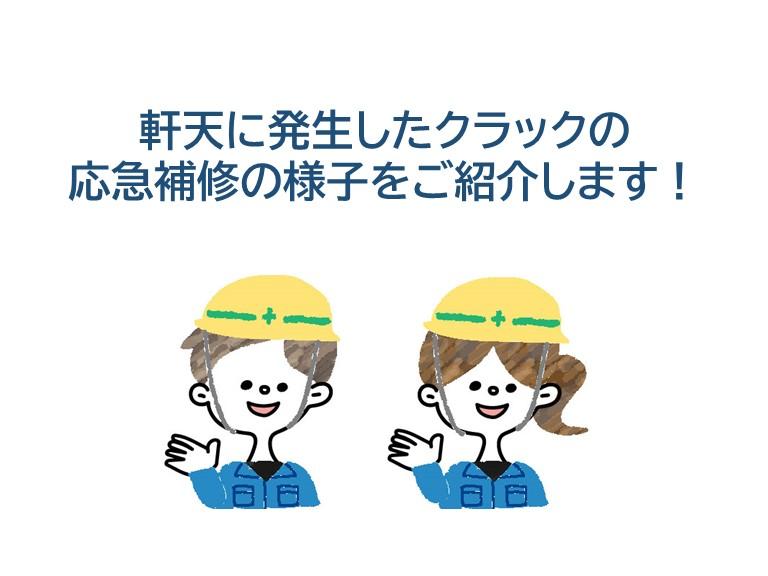 和泉市の軒天のクラック応急補修