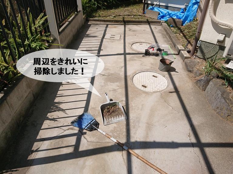 岸和田市のカーポート周辺をきれいに掃除しました!