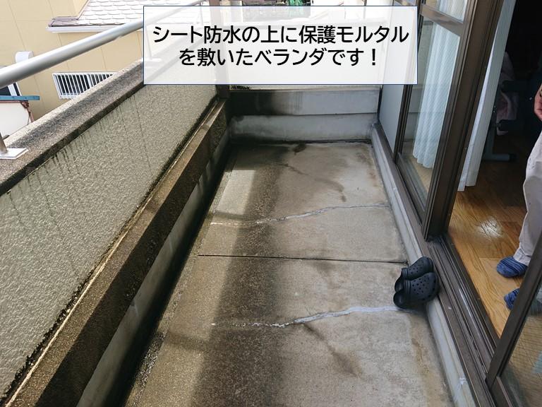 岸和田市の重量鉄骨造の住宅で雨漏りが発生!ベランダを調査!