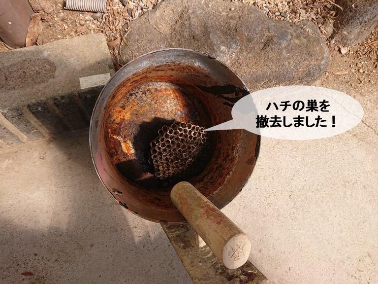 岸和田市のハチの巣を撤去しました