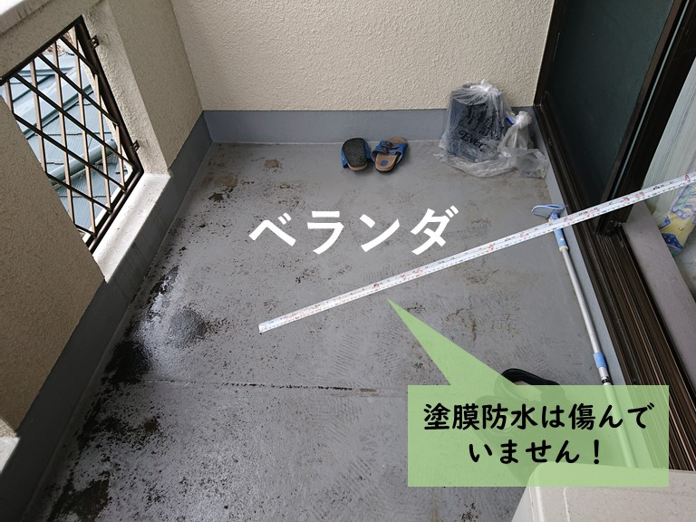 岸和田市のベランダの塗膜防水は傷んでいません