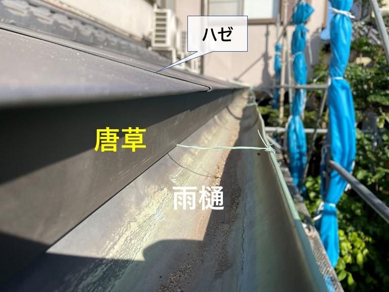 岸和田市の下屋を縦葺き