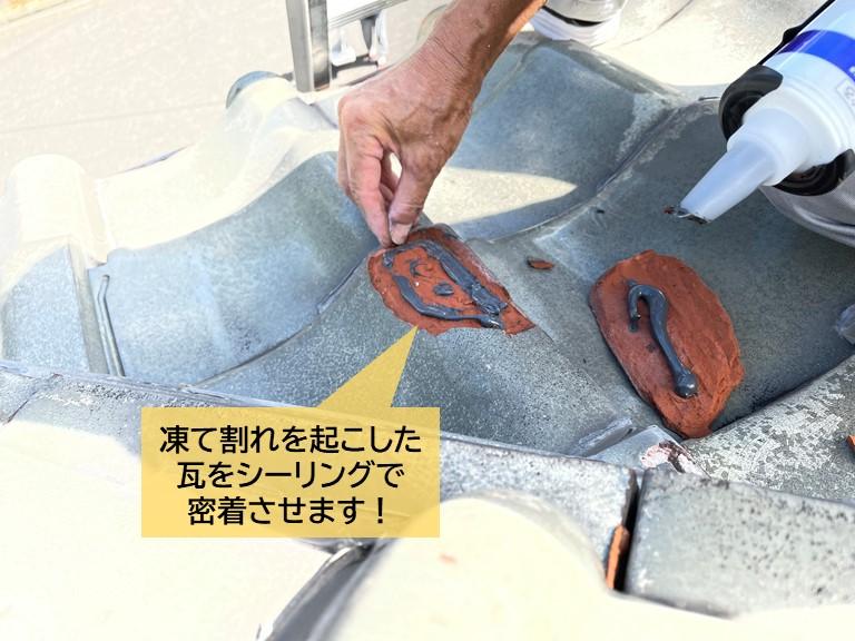 岸和田市の凍て割れを起こした瓦をシーリングで密着させます