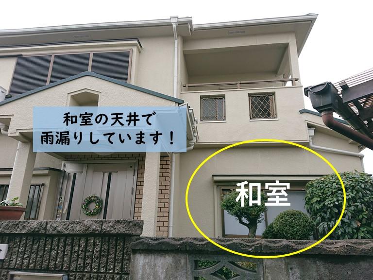 岸和田市の和室の天井で雨漏りしています