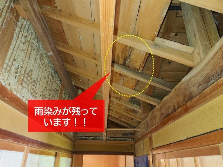 岸和田市の天井裏に雨染みが残っています