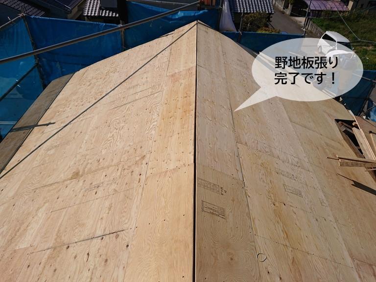 岸和田市の屋根の野地板張り完了です
