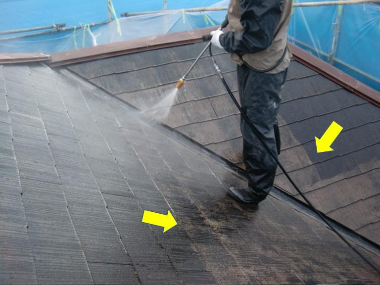 岸和田市の屋根の高圧洗浄