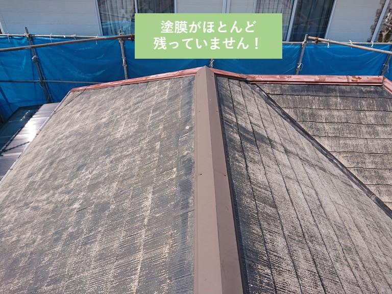 岸和田市の屋根を洗浄すると塗膜がほとんど落ちました