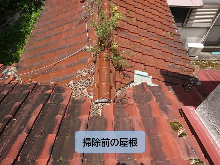 岸和田市の掃除前の屋根