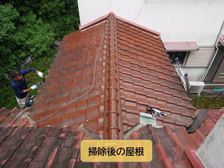 岸和田市の掃除後の屋根