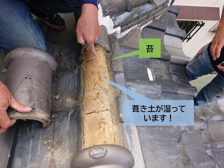 岸和田市の棟の葺き土が湿っています