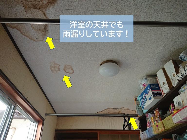 岸和田市の洋室の天井でも雨漏りしています
