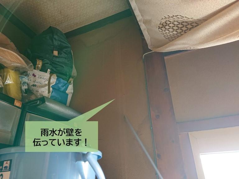 岸和田市の玄関の壁に雨水が伝っています