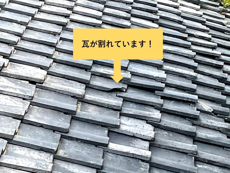 岸和田市の瓦が割れています
