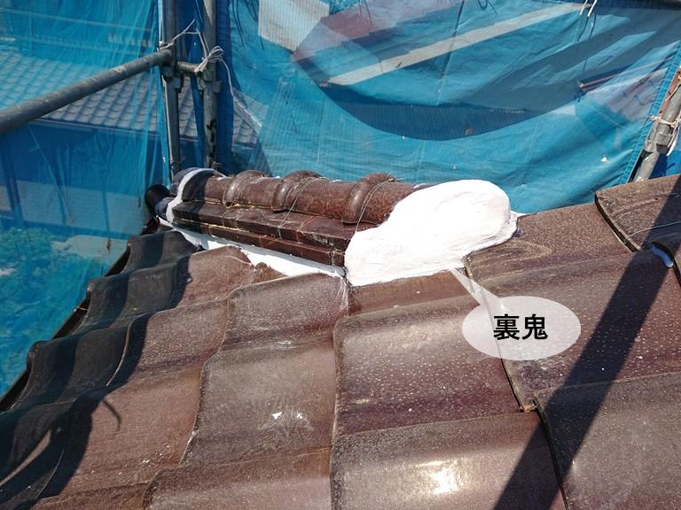 岸和田市の裏鬼の漆喰