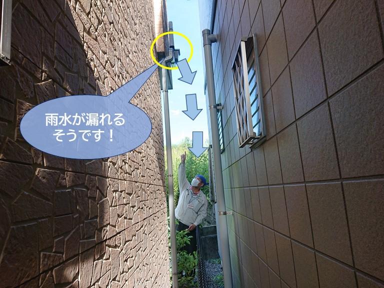 岸和田市の雨樋から雨水が漏れるそうです