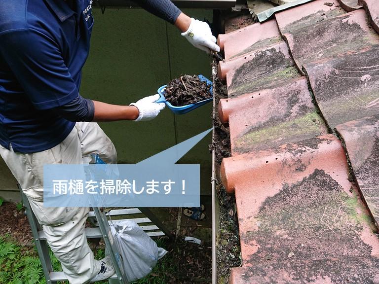 岸和田市の雨樋を掃除します