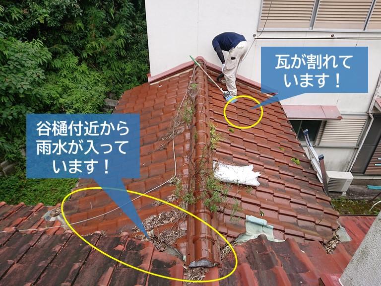 岸和田市の雨漏りの原因の可能性がある箇所