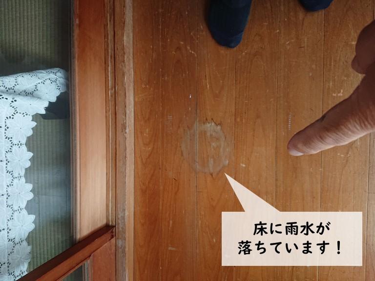 岸和田市の雨漏りの雨水が床に落ちています