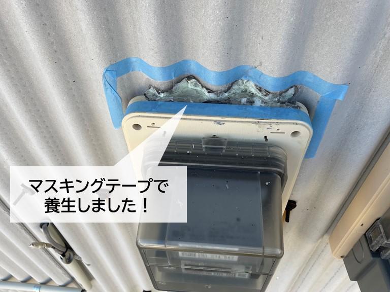 岸和田市の電気のメーターをシーリングで防水