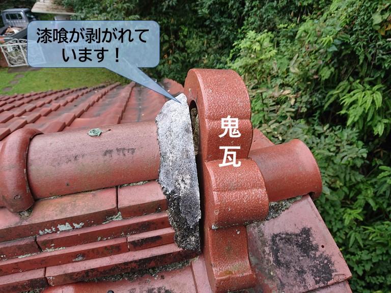 岸和田市の鬼瓦の取り合いの漆喰が剥がれています
