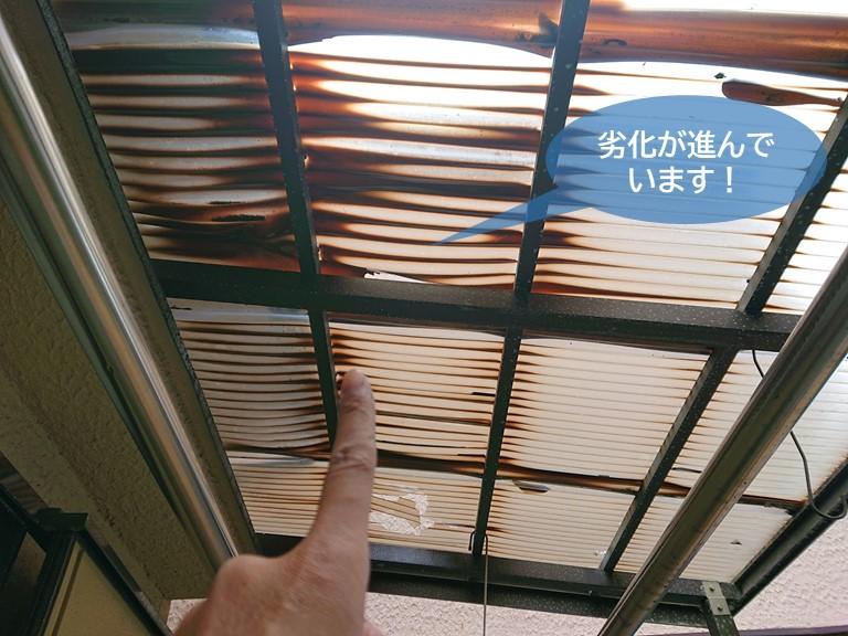 忠岡町のテラス屋根の劣化が進んでいます