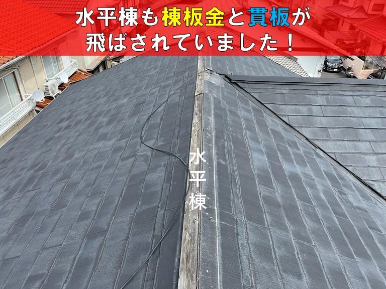 忠岡町の水平棟も棟板金と貫板が飛ばされていました