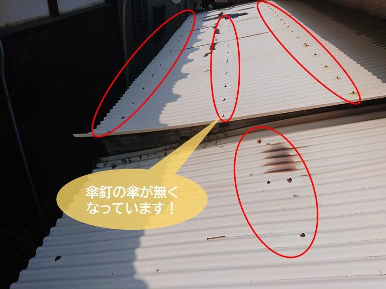 忠岡町の物置の波板が割れて傘釘も破損していました!