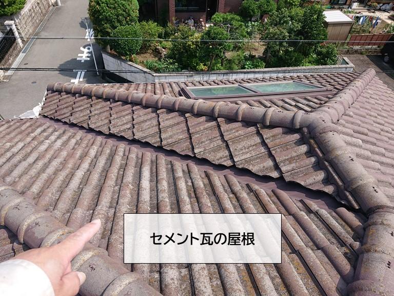泉大津市の割れたセメント瓦をシーリングで補修しました