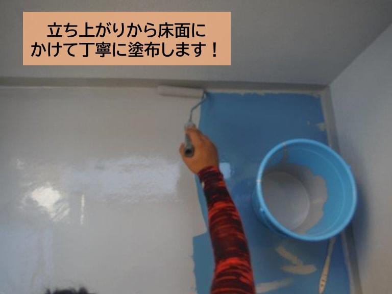 泉大津市のベランダにトップコートを塗布します!