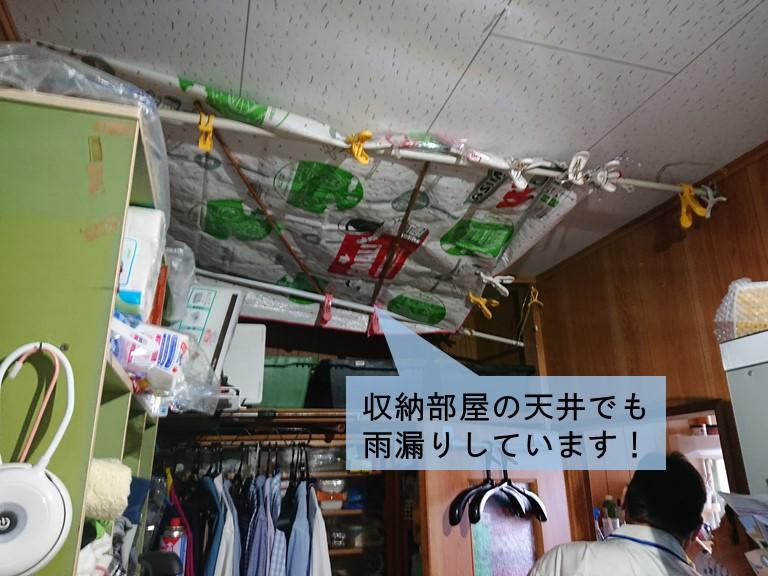 泉大津市の収納部屋の天井でも雨漏り発生