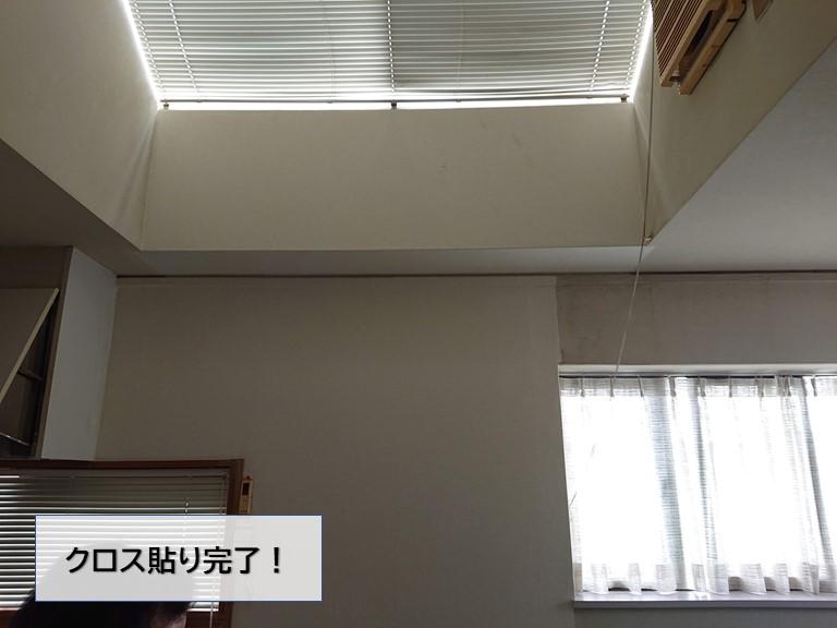 泉大津市の壁のクロス貼替完了