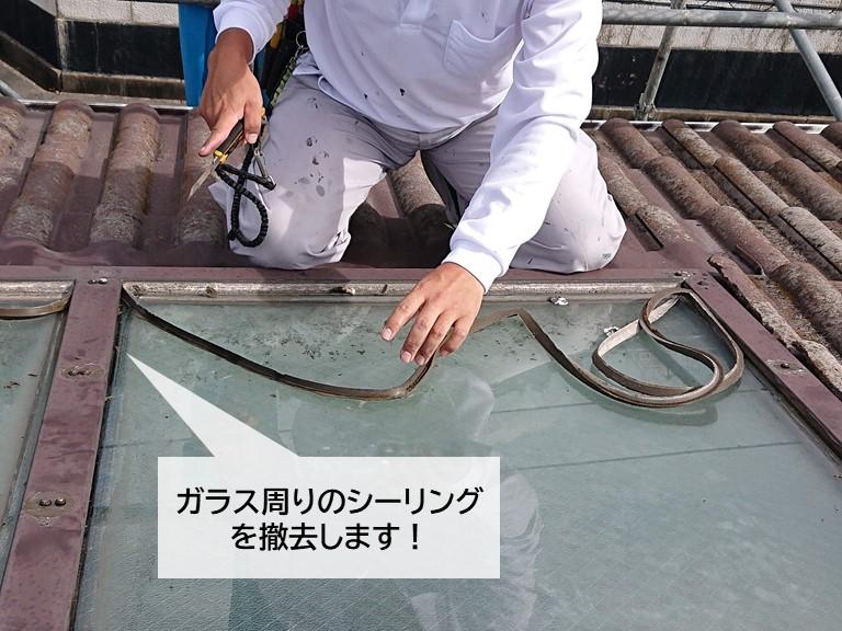 泉大津市の天窓のガラス周りのシーリングの撤去