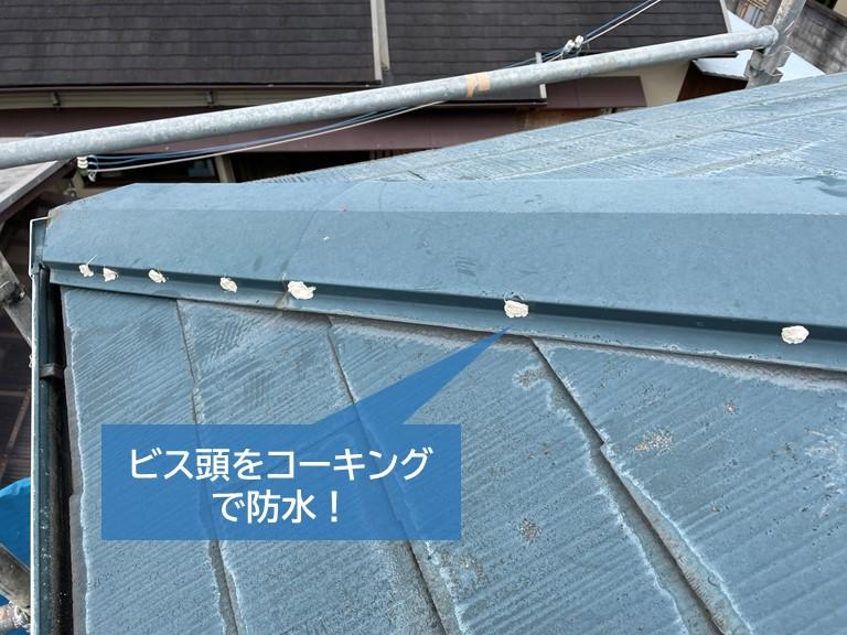 泉大津市の棟板金のビス頭をコーキングで防水しました