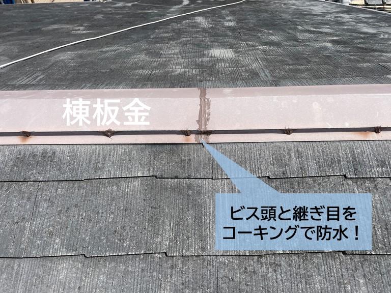 泉大津市の棟板金を固定しているビス頭と継ぎ目にコーキングを充填