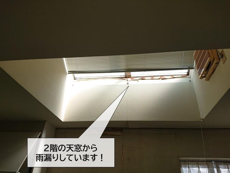 泉大津市の2階の天窓から雨漏り