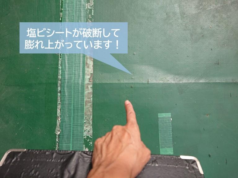 熊取町のベランダの塩ビシートが破断して膨れ上がっています