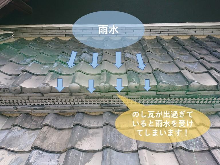 熊取町の雨漏り修理で瓦屋根の腰上げにガルバリウム鋼板を取付け
