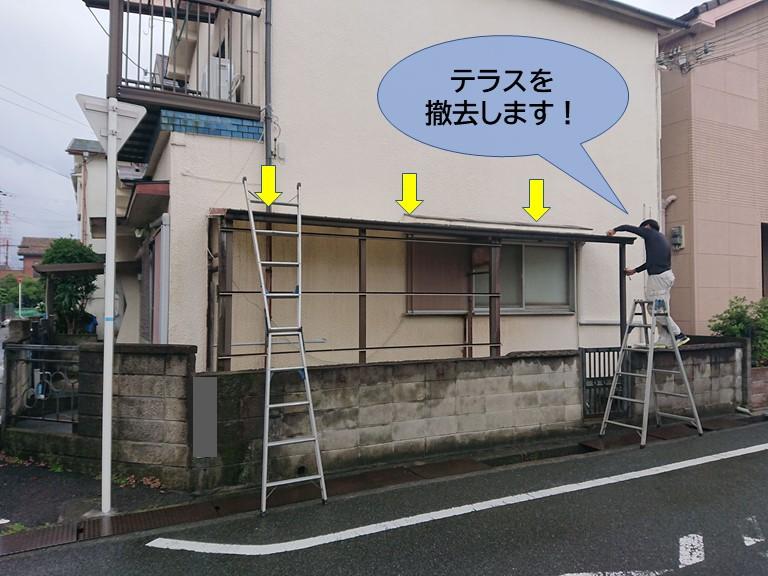 貝塚市のテラスを撤去