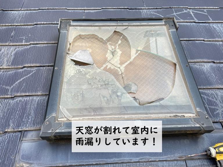 貝塚市の天窓のガラスが割れています
