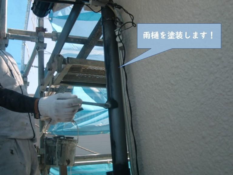 貝塚市の雨樋を塗装します