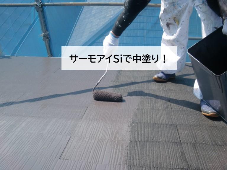 高石市の屋根をサーモアイSiで中塗り