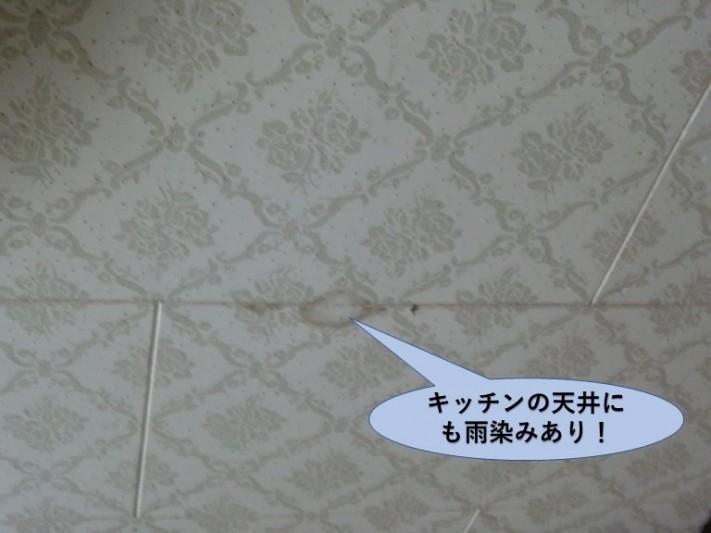 岸和田市下野町のキッチンの天井にも雨漏りの跡