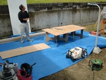 岸和田市大沢町の落下した庇の復旧工事 2日目