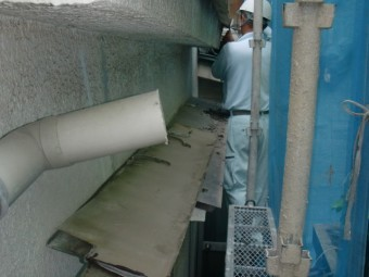 岸和田市春木本町の庇の鋼板張替え