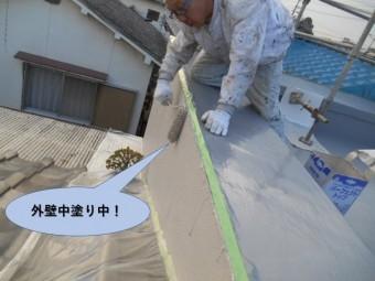 岸和田市の外壁中塗り中