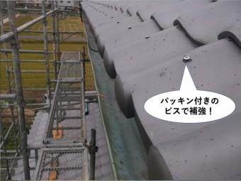 熊取町の軒先瓦をパッキン付きのビスで補強