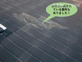貝塚市の屋根の部分的に剥がれている箇所もありました
